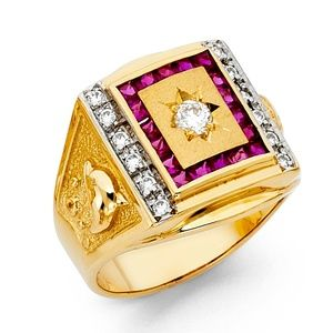 14K Yellow Gold CZ Men's Ring / Ruby